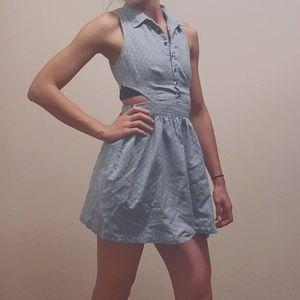 Vintage light blue polka dot dress
